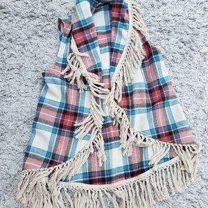 Open Cardigan Vest Flannel Fringe Plaid Medium